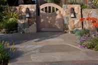 Elk Mountain Sandstone  Flagstone Paving & Rancho Santa Fe Rubble Walls